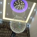 5-Bulb Faceted Crystal Orb Flush Mount Modern Stainless Steel Double Globe Restaurant Ceiling Light Fixture