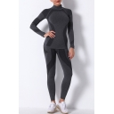 Fancy Women's Set Contrast Panel Turtleneck Long Sleeves Slim Fitted Tee Top with High Waist Skinny Pants Yoga Co-ords