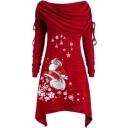 MERRY CHRISTMAS Letter Bow Floral print Off The Shoulder Long Sleeve Slim Mini Asymmetric Dress