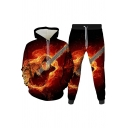 Mens 3D Co-ords Simple Guitar Fire Note Star Print Long Sleeve Hooded Sweatshirt Ankle Length Tapered Pants Slim Fit Jogger Co-ords