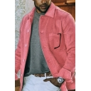 Mens Jacket Stylish Solid Color Chest Pocket Button down Regular Fit Long Sleeve Turn-down Collar Casual Jacket
