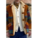 Mens Jacket Stylish Color Block Geometric Zigzag Pattern Panel Thick Button up Turn-down Collar Regular Fit Long Sleeve Casual Jacket