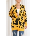 Basic Women's Cardigan All over Leopard Print Front Pockets Rib-Knit Cuffs Open Front Long-sleeved Cardigan