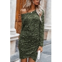 Cool Bodycon Dress All over Leopard Print Pleated off the Shoulder Asymmetrical Hem Long Sleeve Bodycon Dress for Women