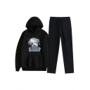Cool Womens Co-ords Senpai Beauty Print Loose Fitted Full Length Pants Long Sleeve Hoodie Jogger Co-ords