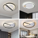 Black Semicircle/Triangle Thin Flush Lamp Minimalistic Acrylic Surface Mounted LED Ceiling Light in Warm/White Light