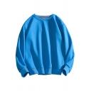 Retro Mens Sweatshirt Solid Color Rib Trim Round Neck Long Sleeve Loose Fit Pullover Sweatshirt