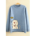 Vintage Womens Sweater Cat Fish Pattern Rib Trim Long Sleeve Relaxed Fitted Round Neck Sweater