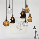 Raindrop Amber Ripple Glass Hanging Light Modernist 6