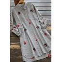 Cozy Women's Shirt All over Floral Printed Chest Pocket Button-down Asymmetrical Slit Turn-down Collar Long Sleeves Regular Fitted Tunic Shirt Blouse