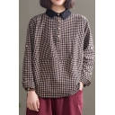 Elegant Women's Shirt Plaid Pattern Contrast Trim Button Detail Turn-down Collar Long Sleeves Loose Fitted Blouse