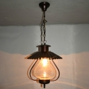 Scalloped Edged Pendant Light Kitchen Single Light Vintage Hanging Light in Rust