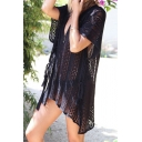 Cozy Women's T-Shirt Dress Broderie Design Solid Color Side Slits Asymmetrical V Neck Half Sleeves T-Shirt Dress