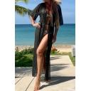Creative Womens Jacket Side Split Hem Open Front Loose Fitted Half Sleeve Longer Length Cover-up Beach Jacket
