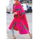 Novelty Womens Coat Floral Print Long Sleeve Turn down Collar Mid-Length Loose Fit Coat