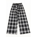 Unique Womens Pants Plaid Pattern Drawstring Waist Loose Fitted Long Wide Leg Relaxed Pants