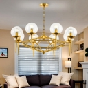 Gold Pyramid Chandelier Light Postmodern 8 Heads Clear Ball Glass Ceiling Hang Lamp