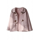 Vintage Womens Jacket Toggle-Button Detail Contrast Trim Double Flap Pockets Front Loose Fit Long Sleeve Turn-down Collar Fur Jacket