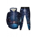 Classic Mens 3D Co-ords Avenue Trees Snow Beach Sun Galaxy Mountain Sunflower Pattern Long Sleeve Hoodie Tapered Pants Slim Fit Jogger Co-ords