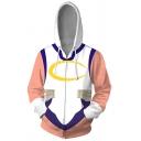 Vintage Mens Hoodie Color Block 3D Cosplay Anime My Hero Academia Miruko Drawstring Zipper up Slim Fitted Long Sleeve Hoodie