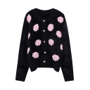 Vintage Womens Cardigan Flower Embroidery Thick Pearl Button Detail Crew Neck Long Sleeve Relaxed Fit Cardigan