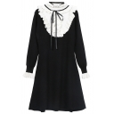 Classic Womens Dress Color Block Stringy Selvedge Tie Detail Waist-Controlled Long Sleeve Midi Regular Fitted Round Neck Knitted Dress