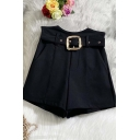 Womens Shorts Trendy Solid Color Thick Metal-Buckle Belted Bud Ultra High Rise Slim Fitted Wide Leg Relaxed Shorts