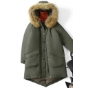Stylish Women's Coat Plain Front Big Pockets Zipper Fly Fur-Trimmed Hooded Asymmetrical Hem Button Detailed Long Sleeves Relaxed Fit Down Coat