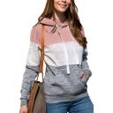 Basic Womens Hoodie Color Block Drawstring Long Sleeve Slim Fit Hooded Sweatshirt with Kangaroo Pocket