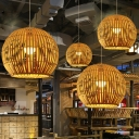 Bamboo Stripe Spherical Hanging Light Asian 1-Light Beige Down Lighting Pendant, 12