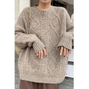 Leisure Women's Sweater Cable Knitted Ribbed Trim Crew Neck Long-sleeved Relaxed Fit Sweater