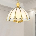 Brass Scalloped Small/Large Drop Lamp Traditional Opal Frosted Glass 3/5-Light Restaurant Pendant Chandelier