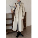 Trendy Women's Coat Solid Color Belted Buckle Detailed Turn-down Collar Long Sleeves Regular Fitted Woolen Coat