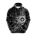 Mens Hoodie Stylish 3D Smiley Crack Letter The Future Is Bright Pattern Regular Fit Long Sleeve Hoodie