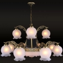 Ivory Frosted Glass Bronze Chandelier 2-Tier Ruffled-Trim Ball 15 Lights Traditional Ceiling Suspension Lamp