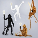 Monkey Boys Bedroom Drop Pendant Resin 1 Bulb Artistry Ceiling Suspension Lamp in Gold with Handmade Hemp Rope