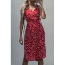 Trendy Women's A-Line Dress Ditsy Floral Strapped Stringy Selvedge Embellished Waist Pleated V Neck Sleeveless Regular Fitted A-Line Dress