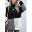 Retro Womens Sweater Color Block Panel Tunic Loose Fitted Turtleneck Long Sleeve Bottoming Sweater
