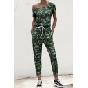 Classic Womens Jumpsuit Camouflage Sloping Shoulder Slim Fitted Short Sleeve Jumpsuit