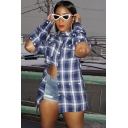 Womens Shirt Fashionable Plaid Pattern Button Detail Long Sleeve Spread Collar Slim Fit Shirt