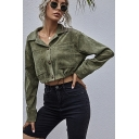 Unique Womens Jacket Plain Chest Pockets Bungee-Style Hem Button up Lapel Collar Regular Fit Long Sleeve Cropped Casual Jacket