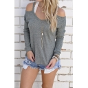 Womens Cold Open Shoulder Loose Knitted Sweater Top Blouse