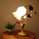 Frosted Glass Blue/Beige Night Lamp Bellflower 1-Light Korean Garden Table Light for Living Room