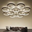 White Circular Flower Semi Mount Lighting Minimalist 9/12-Head Acrylic LED Ceiling Flush Light