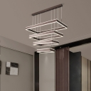 Modern 2/3/4 Layered Chandelier Light Acrylic Living Room Rectangle LED Hanging Pendant in Coffee