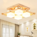 Milk Glass Cube Semi Flush Light Nordic 4/6/9 Bulbs Beige Close to Ceiling Lamp with Wood Guard
