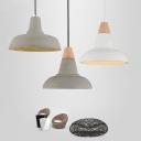 Grey/White/Beige Barn Hanging Light Nordic Concrete 1-Light Kitchen Bar Drop Pendant with Embossed Flower Inner