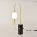 Designer Circuitry Night Light Marble Single-Bulb Bedroom Table Lamp with Milk Glass Shade in Black