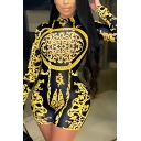 Stylish Women's Romper Tribal Paisley Pattern Long Sleeves Mock Neck Slim Fitted Romper