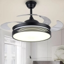4 Blades Black Round Hanging Fan Light Simple 19